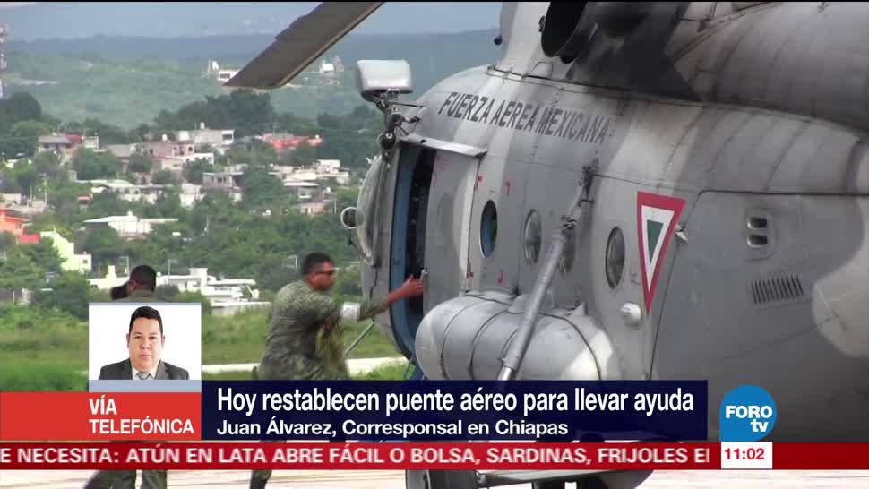 Restablecen, puente, aéreo, Chiapas