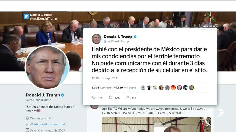 Trump llama a EPN por terremoto en México