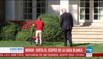 Niño Poda Pasto Casa Blanca Césped Trump Estados Unidos