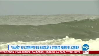 'María' se convierte en huracán y avanza sobre el Caribe