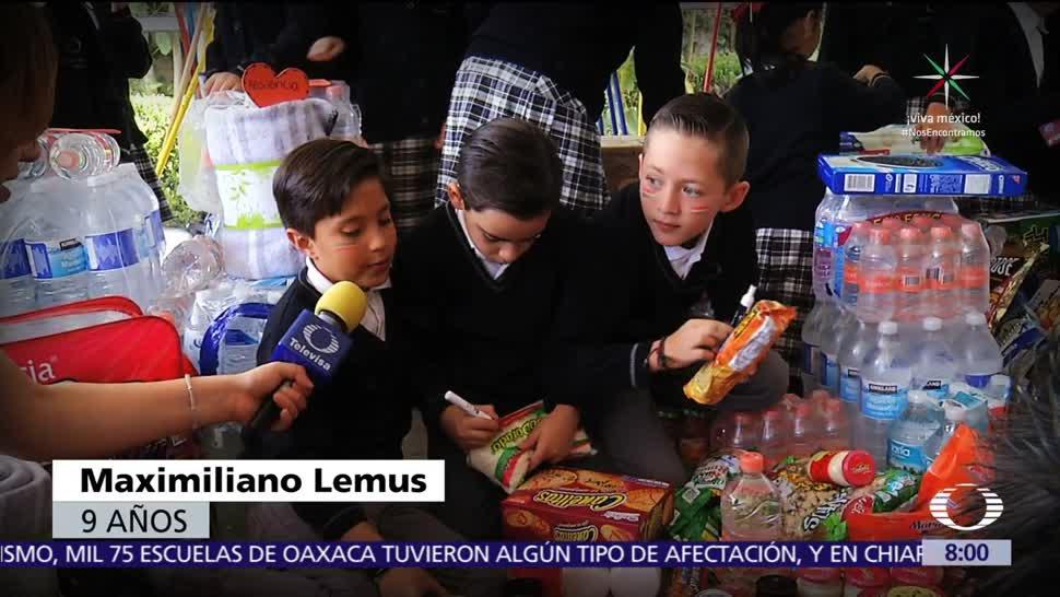 Niños envían ayuda humanitaria con mensajes de apoyo a damnificados del sismo