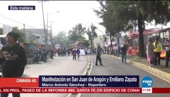Manifestantes afectan vialidad en San Juan de Aragón