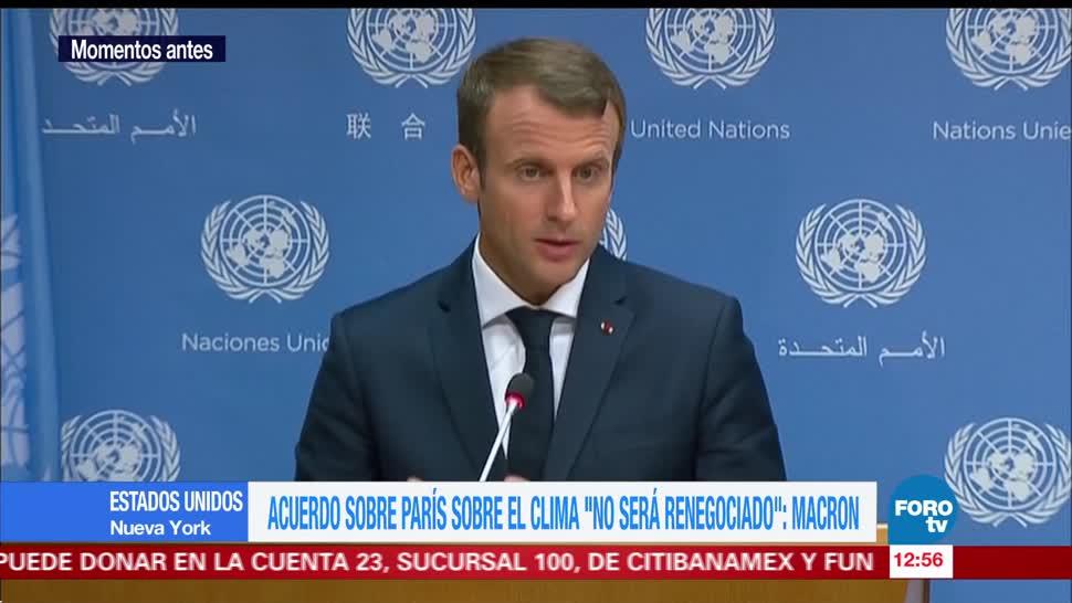 Acuerdo de París sobre clima no será renegociado: Macron