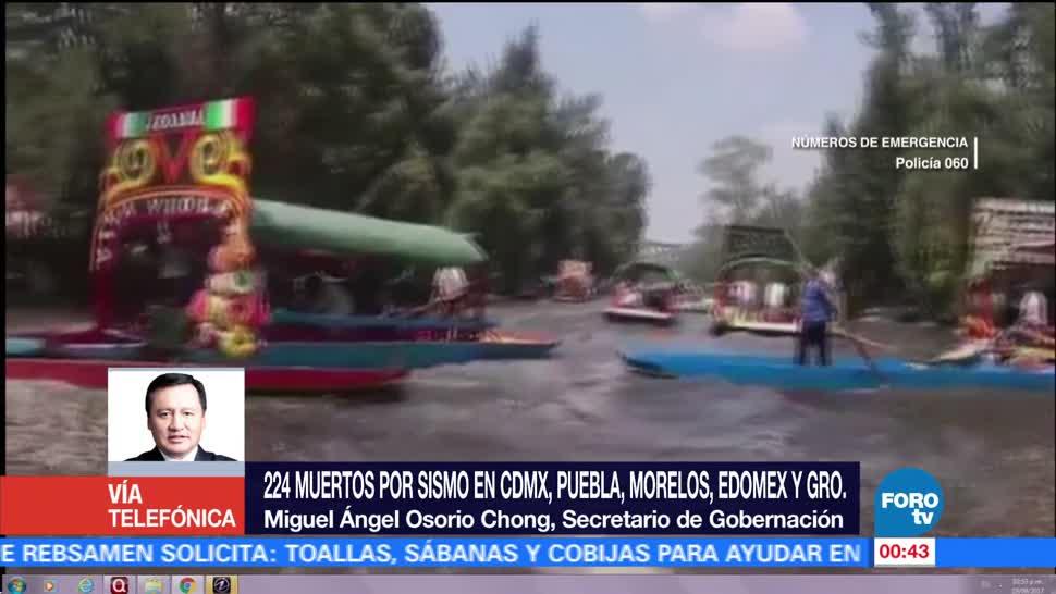 Suman 224 personas muertas por sismo, confirma Osorio Chong
