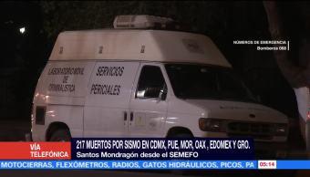 Semefo recibe cuerpos de víctimas por sismo