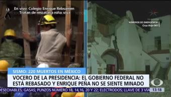 Peña Nieto recorre Jojutla, Morelos, tras sismo, informa el vocero de Presidencia