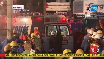 Continúa el rescate de cuerpos en el edificio de la colonia Obrera