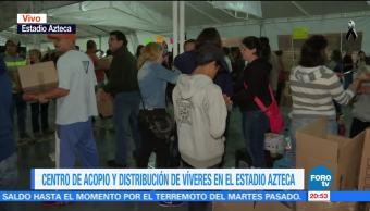 Centro de acopio del Estadio Azteca reúne 68 toneladas de apoyo