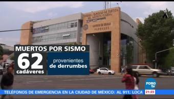 Ingresan al Forense 62 cadáveres de derrumbes provocados por el sismo