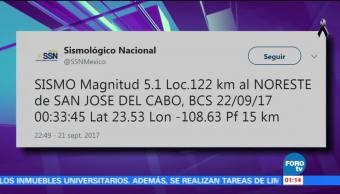 Se registra sismo en Baja California Sur