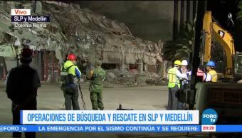 Rescatistas aseguran ya no hay cuerpos atrapados en SLP y Medellín