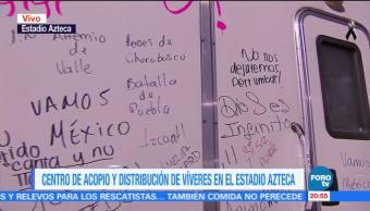 Voluntarios del Estadio Azteca envían mensajes motivacionales por sismo