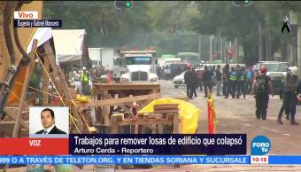 Siguen trabajos para remover losas de edificios colapsados en colonia Del Valle