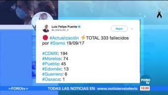 Suman 333 fallecidos por sismo del 19 de septiembre en México