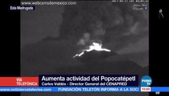Actividad del volcán Popocatépetl no es grave intensa, confirma Cenapred