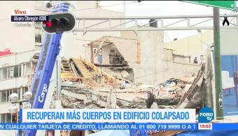 Recuperan más cuerpos en edificio colapsado en Álvaro Obregón