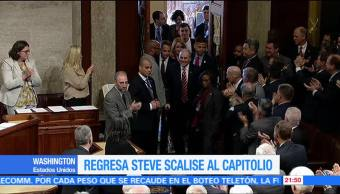 Steve Scalise regresa al Capitolio en Washington