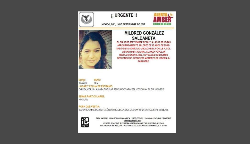 Activan Alerta Ámber para localizar a Mildred González Saldaneta