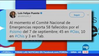 Aumenta 58 Número Muertos Sismo Luis Felipe Puente, Coordinador Nacional De Protección Civil