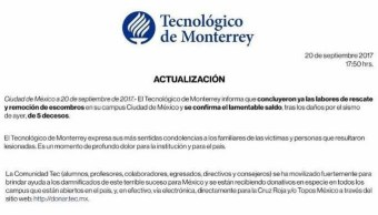 El Tec de Monterrey concluye labores de rescate