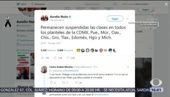 Continúan Suspendidas Clases Hasta Nuevo Aviso Sismo Nuño