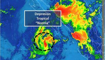 norma se debilita depresion tropical smn