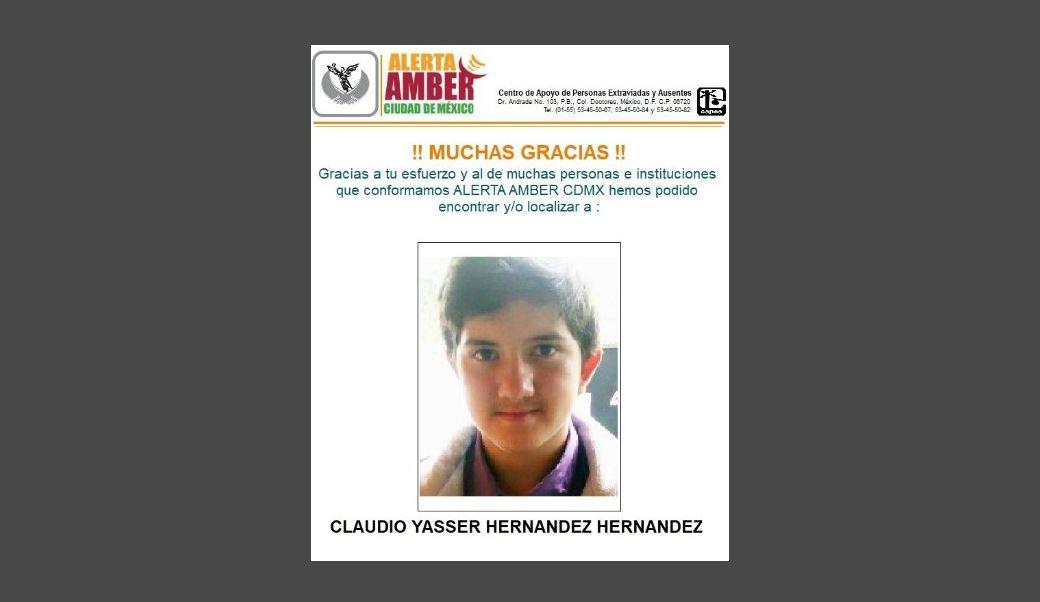Desactivan Álerta Ámber de Claudio Yasser Hernández Hernández