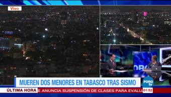 Dos menores mueren en Tabasco tras sismo