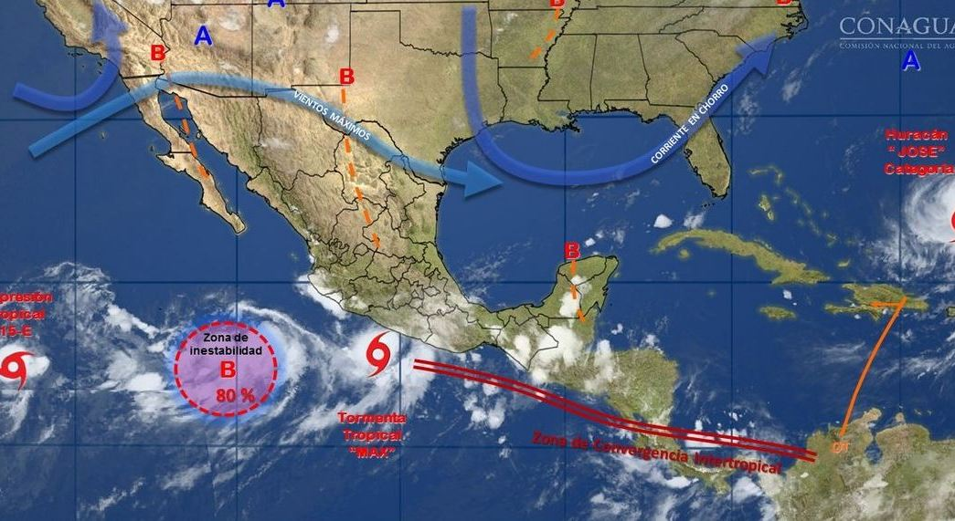 mapa con el pronostco del clima para este 14 de septiembre