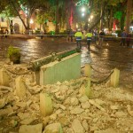 Monumento caído en San Cristóbal de las Casas, Chiapas, tras sismo