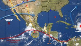 Pronostican tormentas intensas en Guerrero, Oaxaca y Chiapas