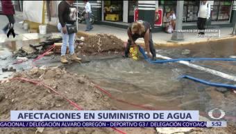 Reportan afectaciones suministro agua CDMX Estado de México