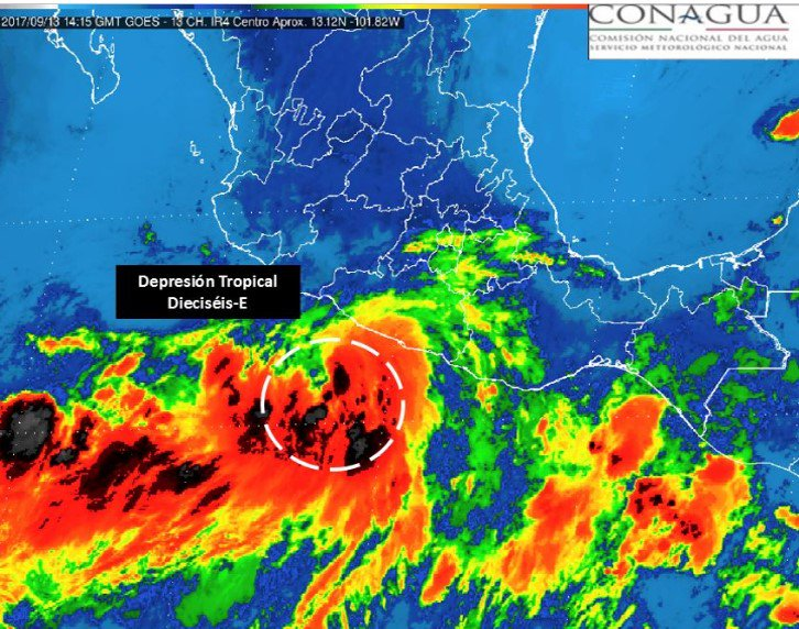 Se forma la depresión tropical 16E en Guerrero