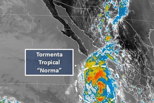 'Norma' se degrada a tormenta tropical; sigue alerta en BCS