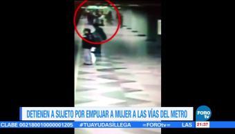 Detienen a sujeto por empujar a mujer a vías del metro CDMX