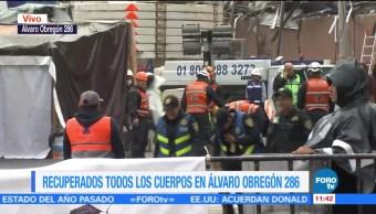 Recuperan todos los cuerpos en derrumbe de Álvaro Obregón 286