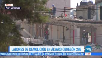 Realizan demolición del edificio colapsado en Álvaro Obregón 286