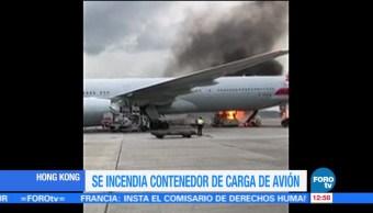 Se incendia contenedor de carga de un avión en Hong Kong