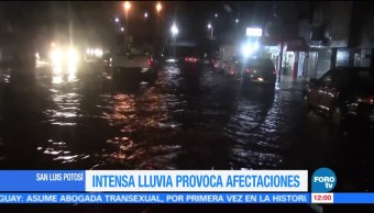 Intensa lluvia provoca afectaciones en SLP