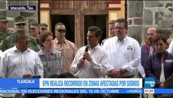 Peña Nieto recorre zonas afectadas en Tlaxcala por sismos