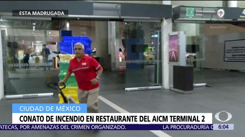 Conato de incendio en restaurante del AICM Terminal 2