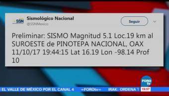 SSN reporta sismo en Oaxaca