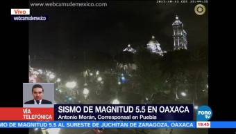 Sin daños en Puebla por sismo de magnitud 5.5