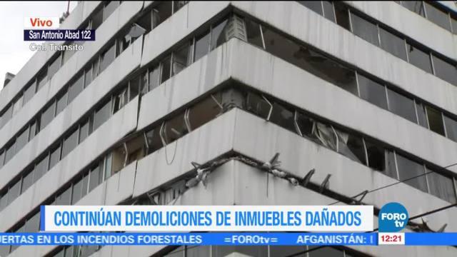 Avanza demolición en edificio afectado en San Antonio Abad 122 tras sismo