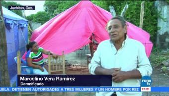 Ahora el frío afecta a damnificados por sismos en Oaxaca