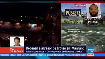 Detienen a agresor del tiroteo en Maryland