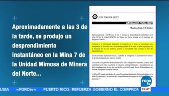 Buscan a trabajadores de mina en Coahuila tras desprendimiento