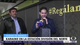 Instalan karaoke en la estación División del Norte del Metro CDMX