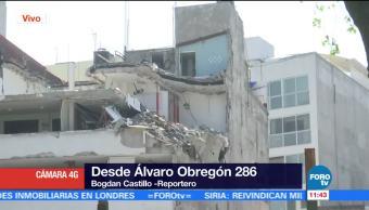 Sigue demolición del inmueble afectado tras sismo en Álvaro Obregón, CDMX