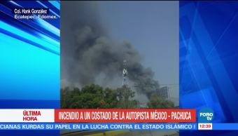 Se registra incendio en fábrica al costado de la Autopista México-Pachuca